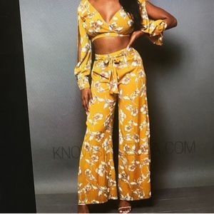 Pants - YELLOW FLORAL TWO PIECE SET